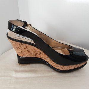 Steve Madden Black Leather Wedge Peep Toe, 7.5/38